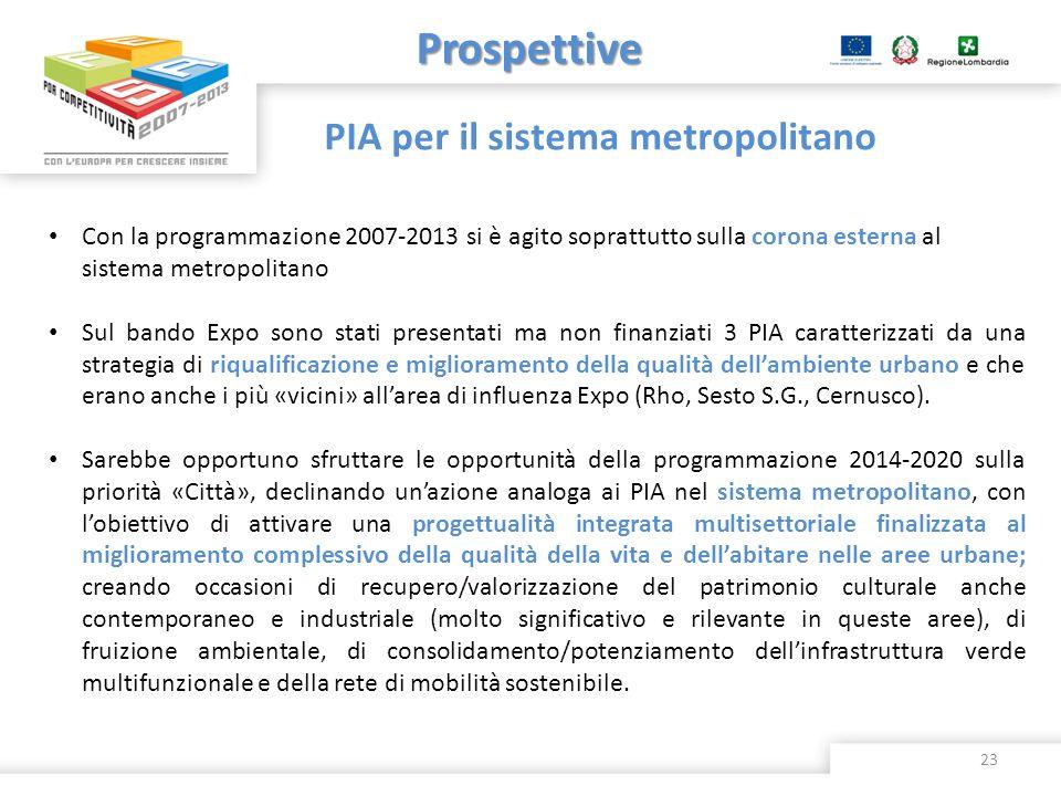 Prospettive PIA per il sistema metropolitano