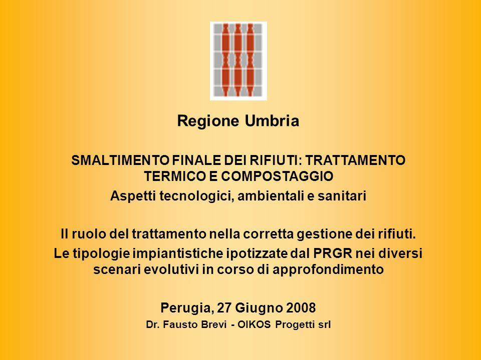 Regione Umbria SMALTIMENTO FINALE DEI RIFIUTI: TRATTAMENTO TERMICO E COMPOSTAGGIO. Aspetti tecnologici, ambientali e sanitari.