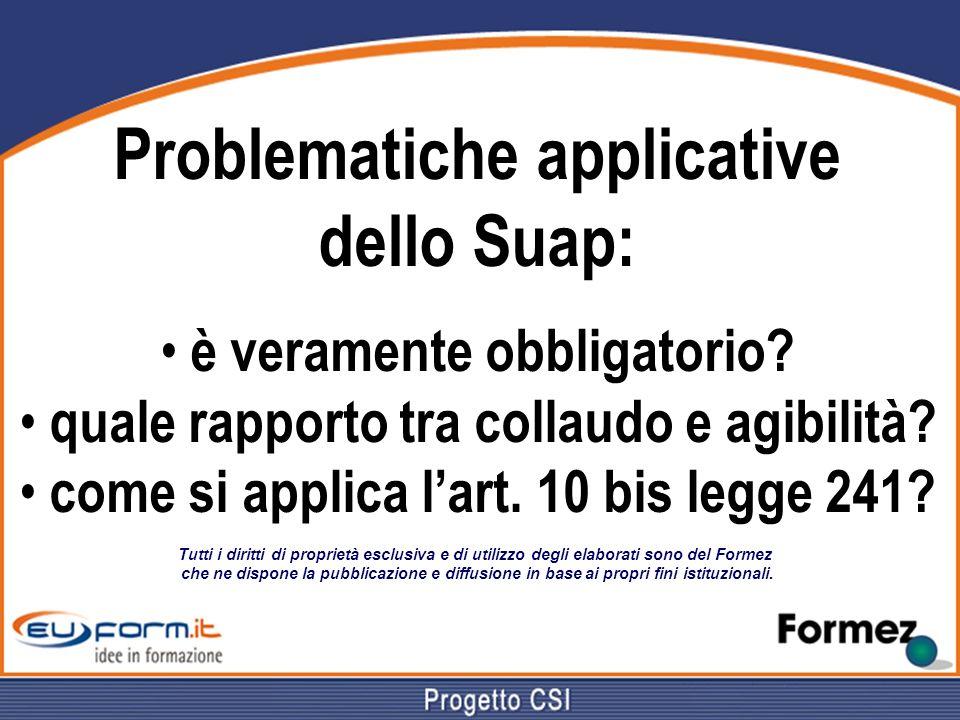 Problematiche applicative dello Suap: