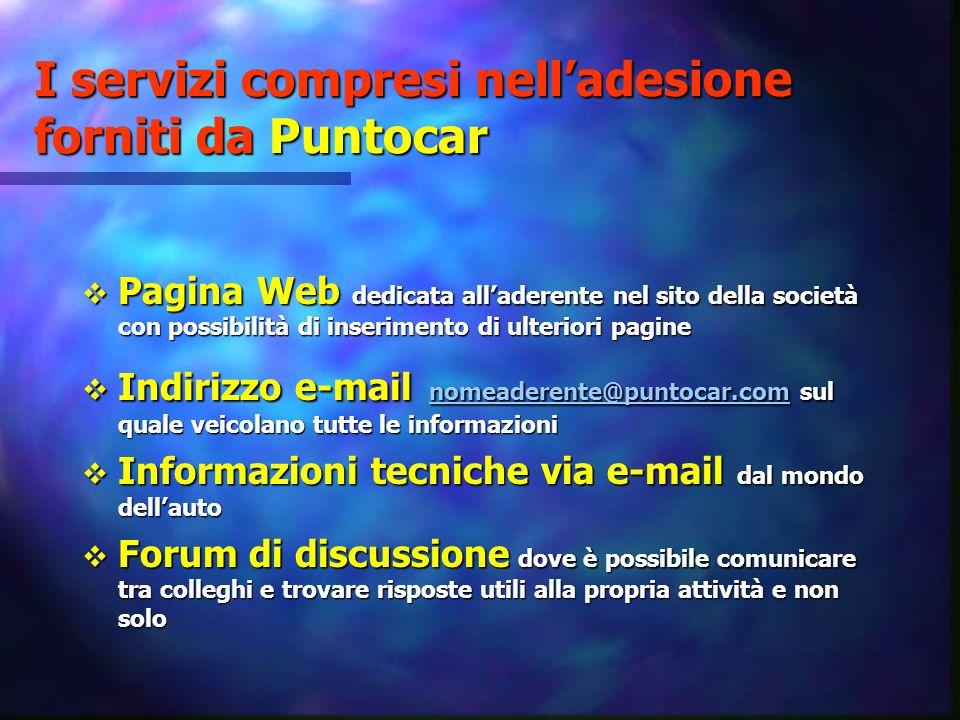 I servizi compresi nell'adesione forniti da Puntocar