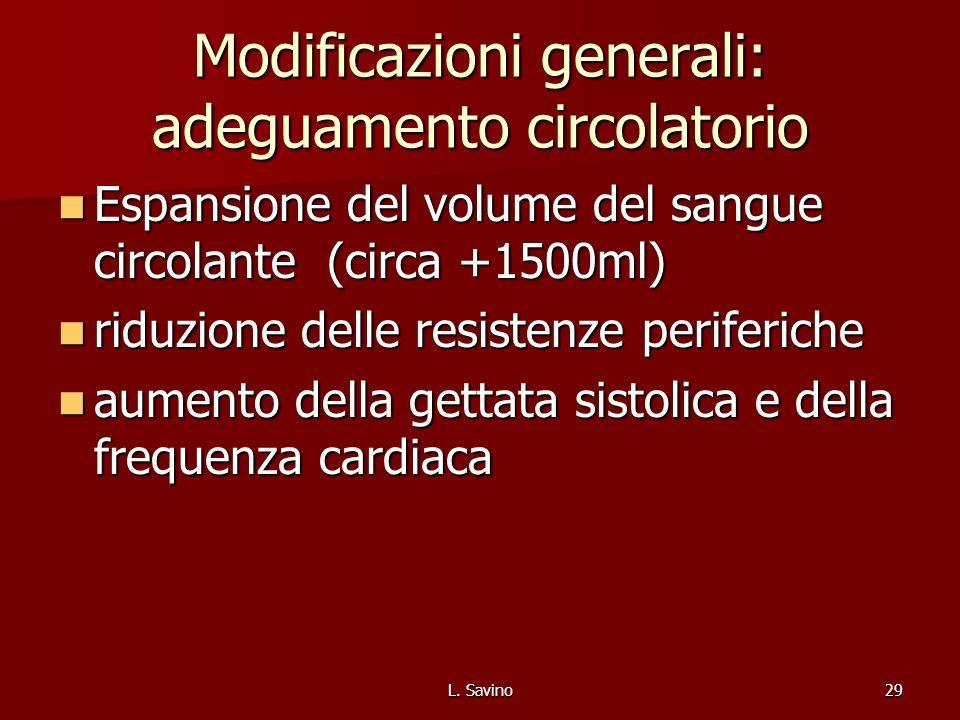 Modificazioni generali: adeguamento circolatorio