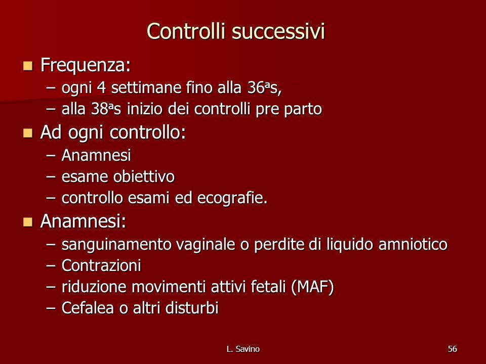 Controlli successivi Frequenza: Ad ogni controllo: Anamnesi: