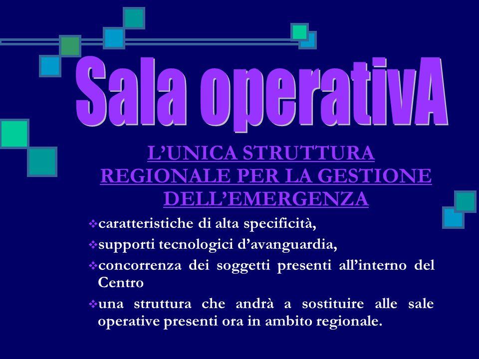 L'UNICA STRUTTURA REGIONALE PER LA GESTIONE DELL'EMERGENZA