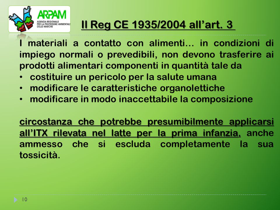 Il Reg CE 1935/2004 all'art. 3