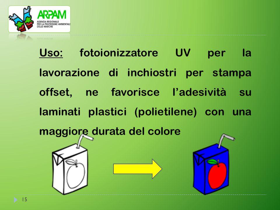 Uso: fotoionizzatore UV per la lavorazione di inchiostri per stampa offset, ne favorisce l'adesività su laminati plastici (polietilene) con una maggiore durata del colore