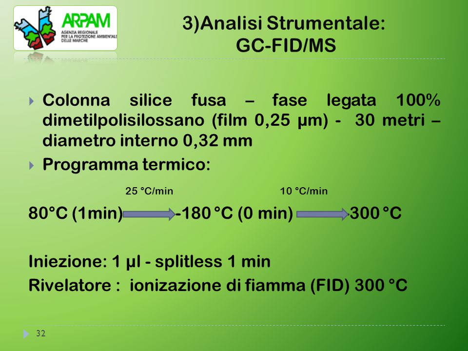 3)Analisi Strumentale: GC-FID/MS