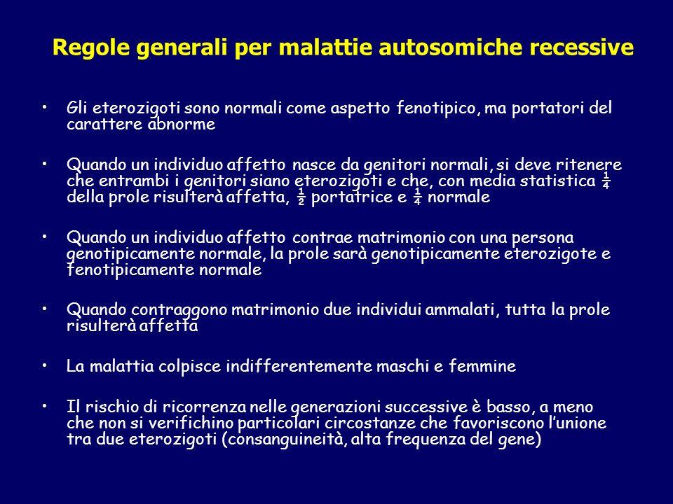 Regole generali per malattie autosomiche recessive