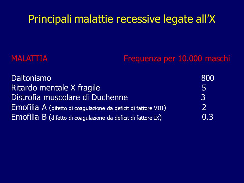 Principali malattie recessive legate all'X