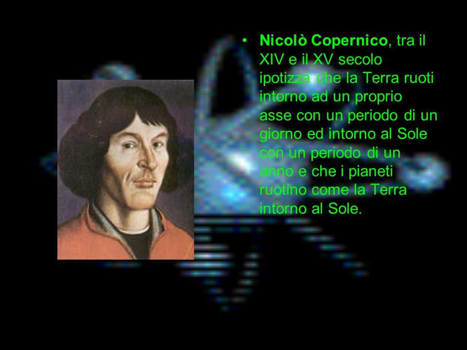 Nicolò Copernico, tra il XIV e il XV secolo ipotizza che la Terra ruoti intorno ad un proprio asse con un periodo di un giorno ed intorno al Sole con un periodo di un anno e che i pianeti ruotino come la Terra intorno al Sole.