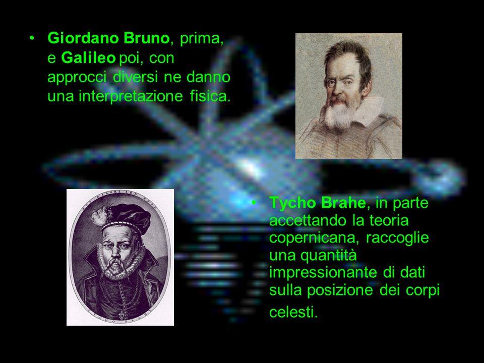 Tycho Brahe, in parte accettando la teoria copernicana, raccoglie una quantità impressionante di dati sulla posizione dei corpi celesti.