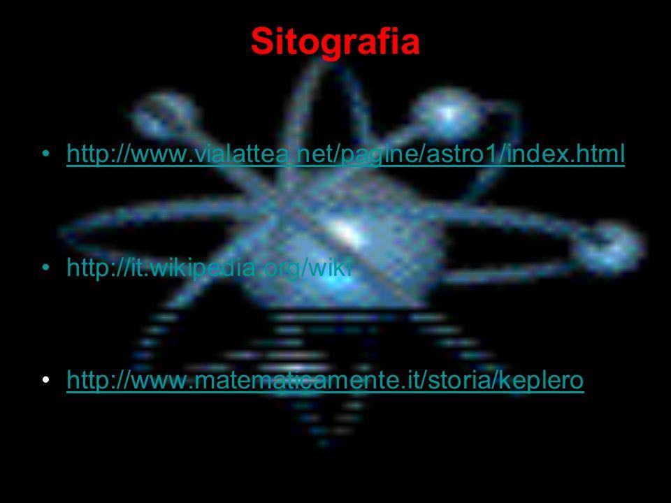 Sitografia http://www.vialattea.net/pagine/astro1/index.html