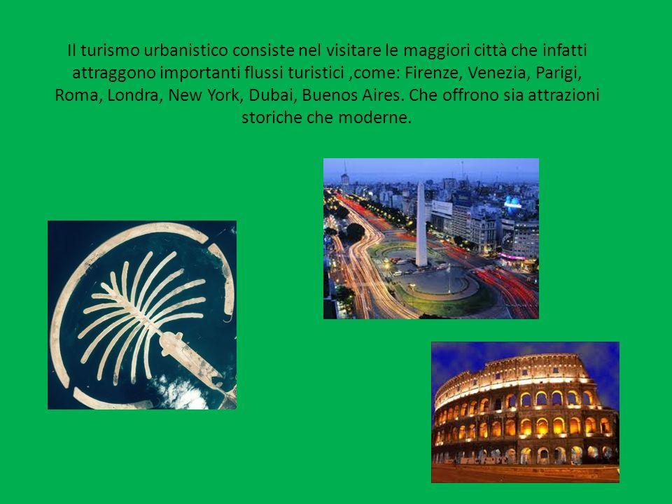 Il turismo urbanistico consiste nel visitare le maggiori città che infatti attraggono importanti flussi turistici ,come: Firenze, Venezia, Parigi, Roma, Londra, New York, Dubai, Buenos Aires.