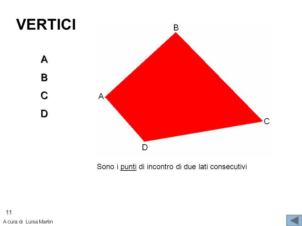 VERTICI A B C D Sono i punti di incontro di due lati consecutivi