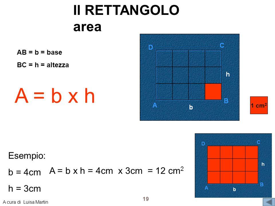 A = b x h Il RETTANGOLO area Esempio: b = 4cm h = 3cm