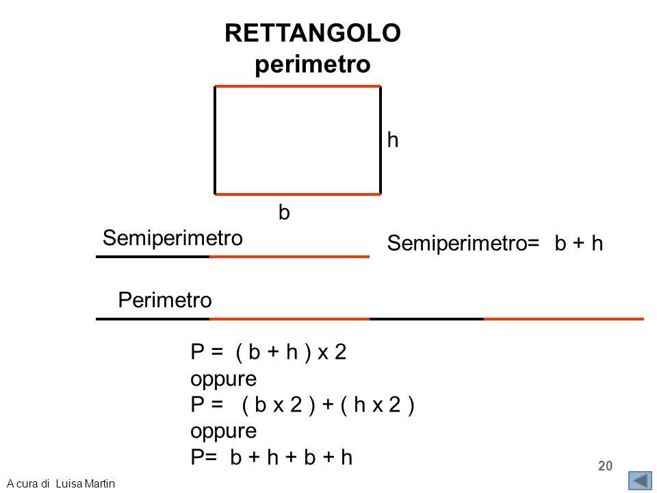 RETTANGOLO perimetro h b Semiperimetro Semiperimetro= b + h Perimetro