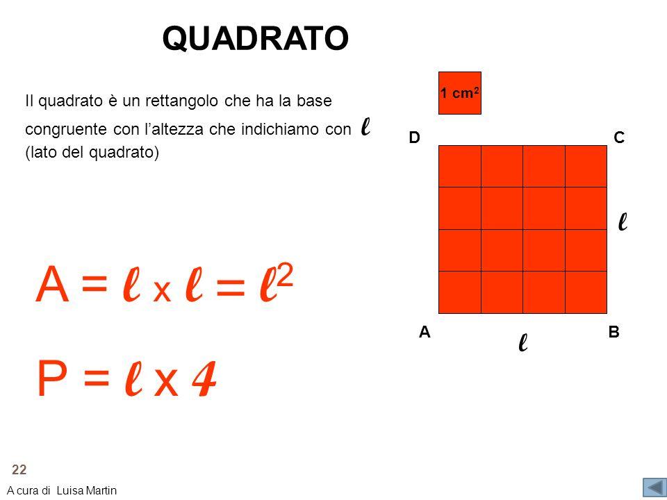A = l x l = l2 P = l x 4 QUADRATO l l