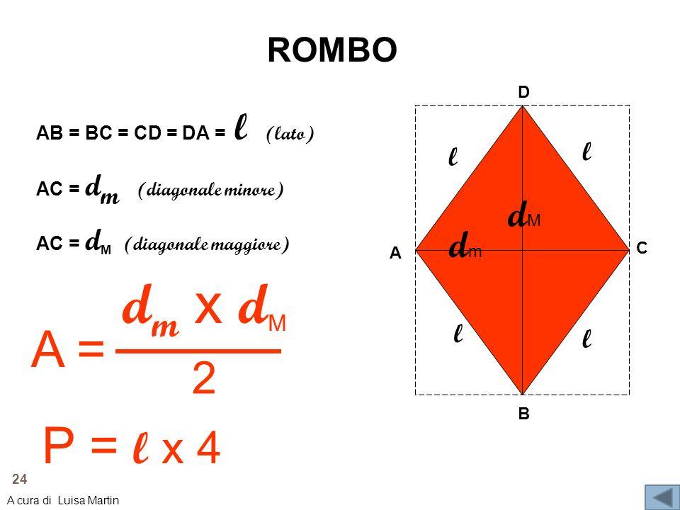 dm x dM A = P = l x 4 2 dM dm ROMBO l l l l