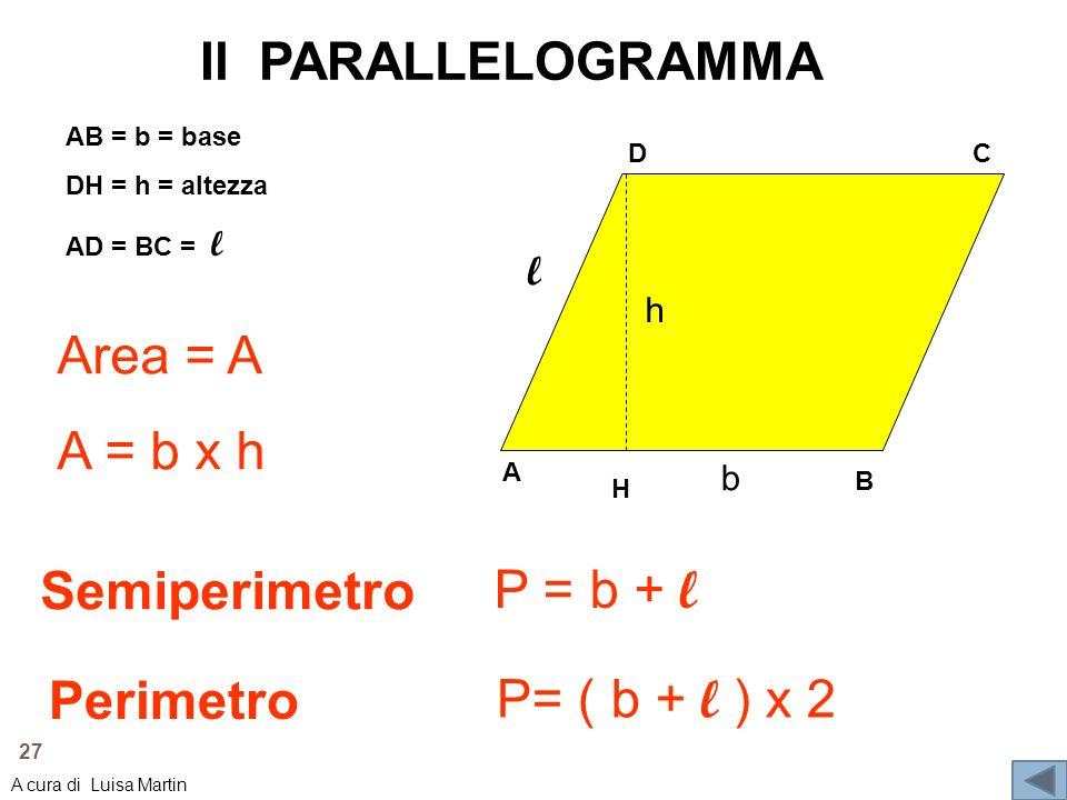 Il PARALLELOGRAMMA Area = A A = b x h Semiperimetro P = b + l