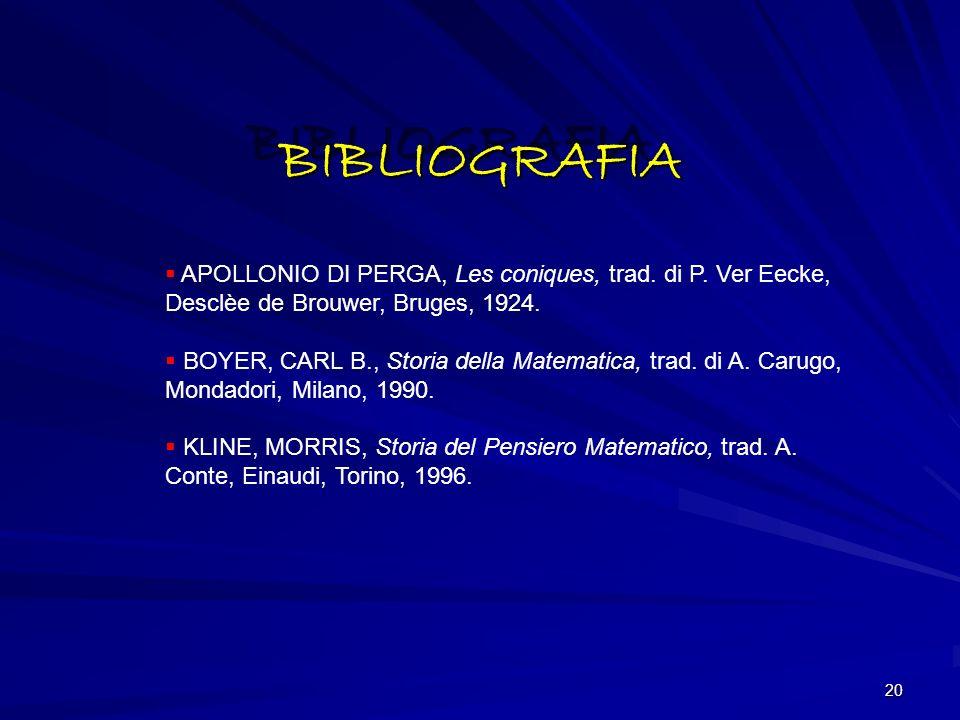 BIBLIOGRAFIA APOLLONIO DI PERGA, Les coniques, trad. di P. Ver Eecke, Desclèe de Brouwer, Bruges, 1924.