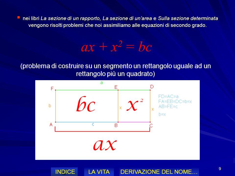 nei libri La sezione di un rapporto, La sezione di un'area e Sulla sezione determinata vengono risolti problemi che noi assimiliamo alle equazioni di secondo grado.