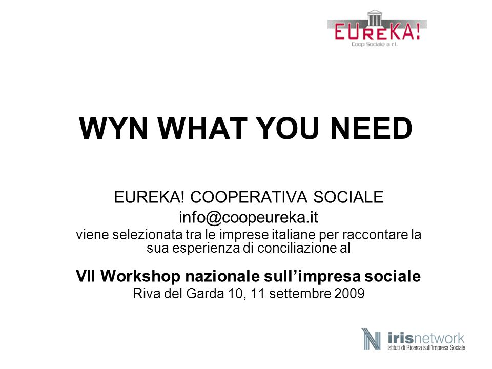 VII Workshop nazionale sull'impresa sociale