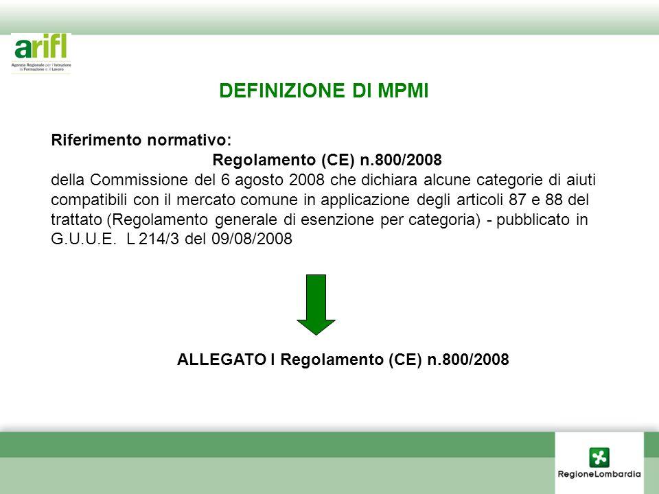 ALLEGATO I Regolamento (CE) n.800/2008