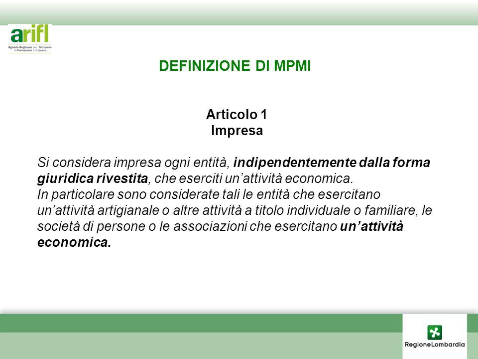 DEFINIZIONE DI MPMI Articolo 1 Impresa
