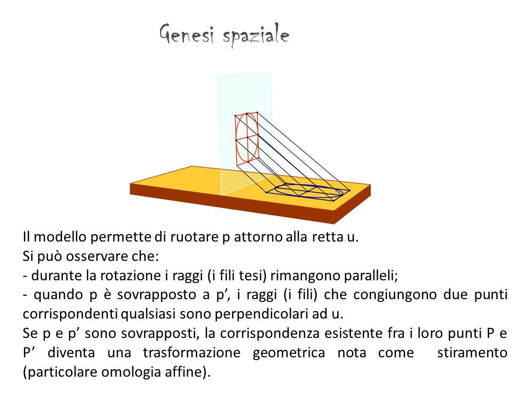 Genesi spaziale Il modello permette di ruotare p attorno alla retta u.