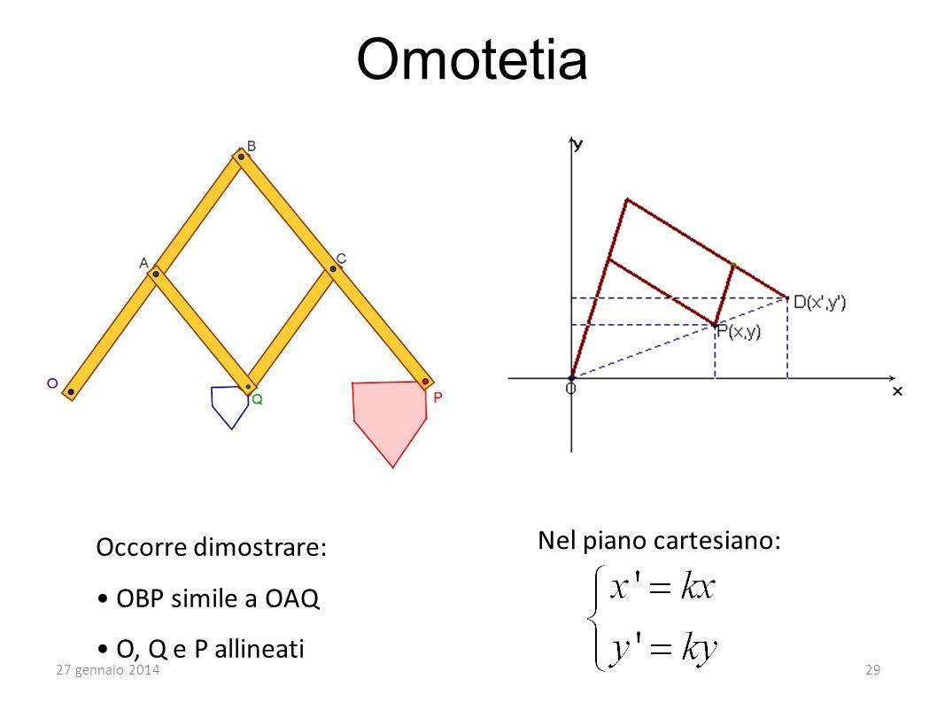 Omotetia Nel piano cartesiano: Occorre dimostrare: OBP simile a OAQ