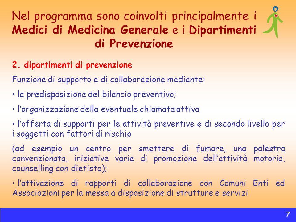 Nel programma sono coinvolti principalmente i Medici di Medicina Generale e i Dipartimenti di Prevenzione