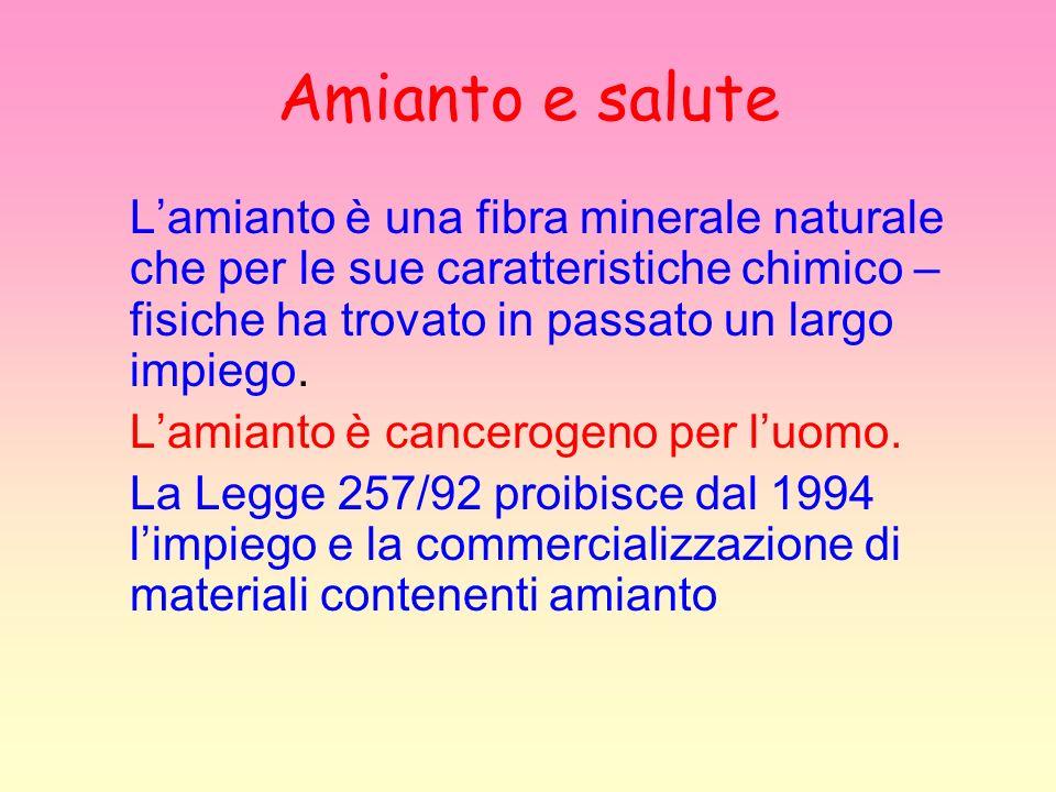 Amianto e saluteL'amianto è una fibra minerale naturale che per le sue caratteristiche chimico – fisiche ha trovato in passato un largo impiego.