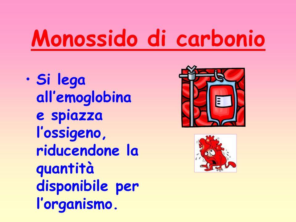 Monossido di carbonioSi lega all'emoglobina e spiazza l'ossigeno, riducendone la quantità disponibile per l'organismo.