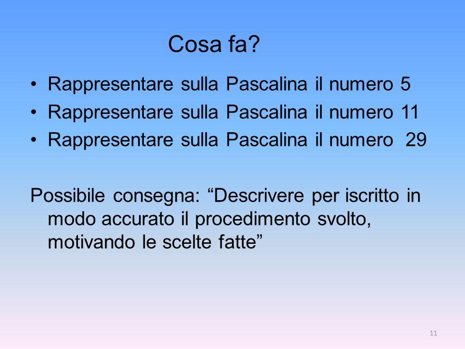 Cosa fa Rappresentare sulla Pascalina il numero 5