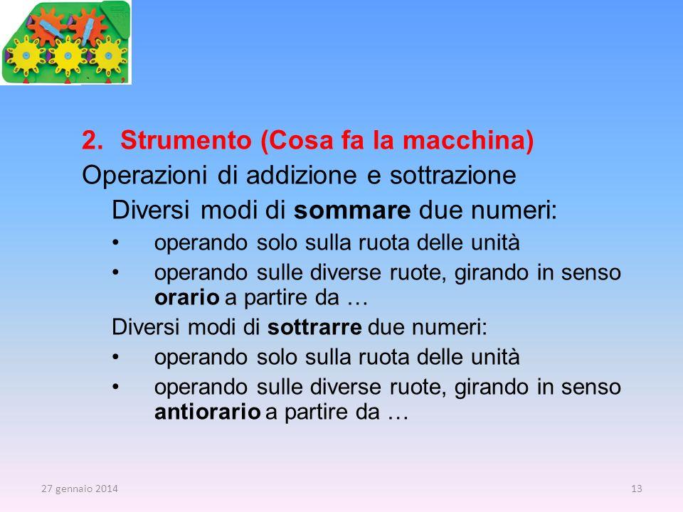 Strumento (Cosa fa la macchina) Operazioni di addizione e sottrazione