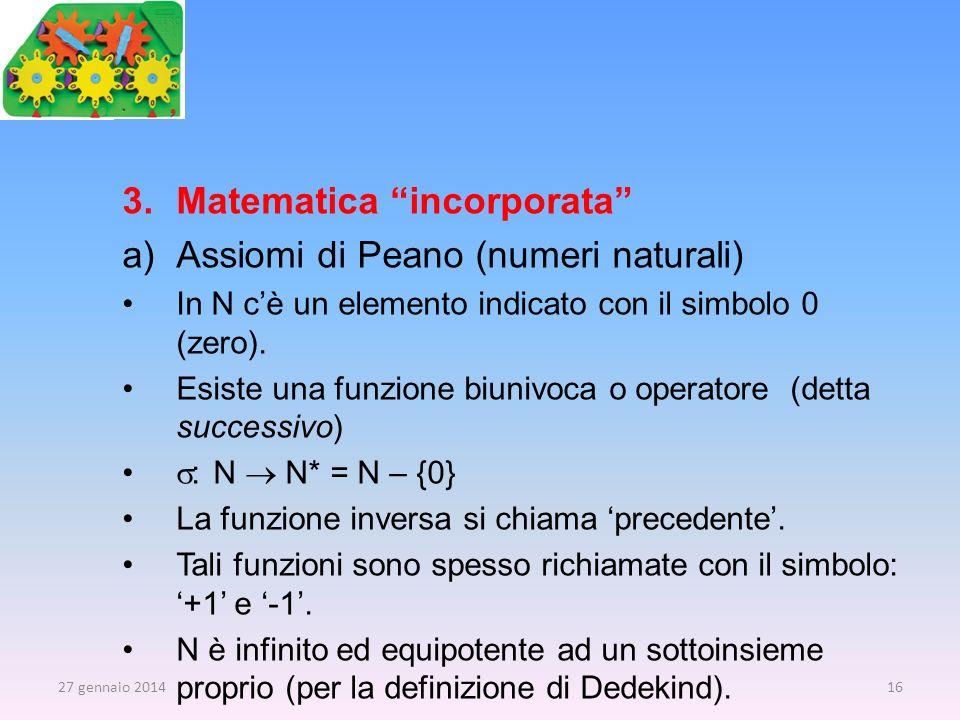 Matematica incorporata Assiomi di Peano (numeri naturali)