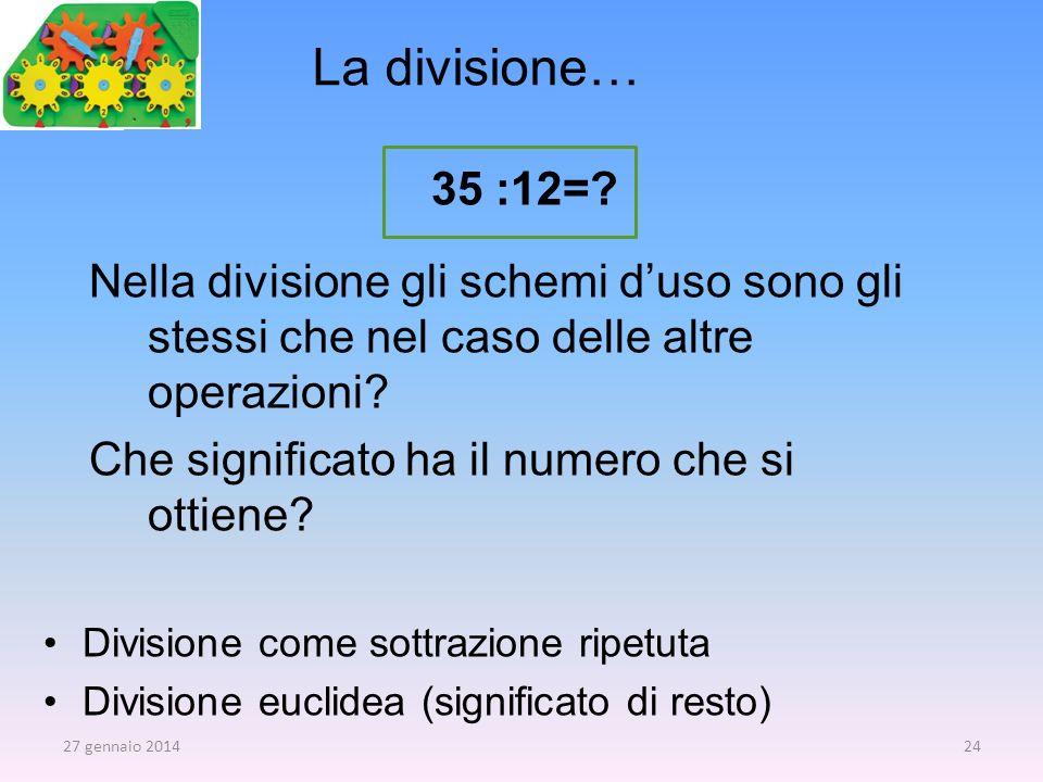 La divisione… 35 :12= Nella divisione gli schemi d'uso sono gli stessi che nel caso delle altre operazioni