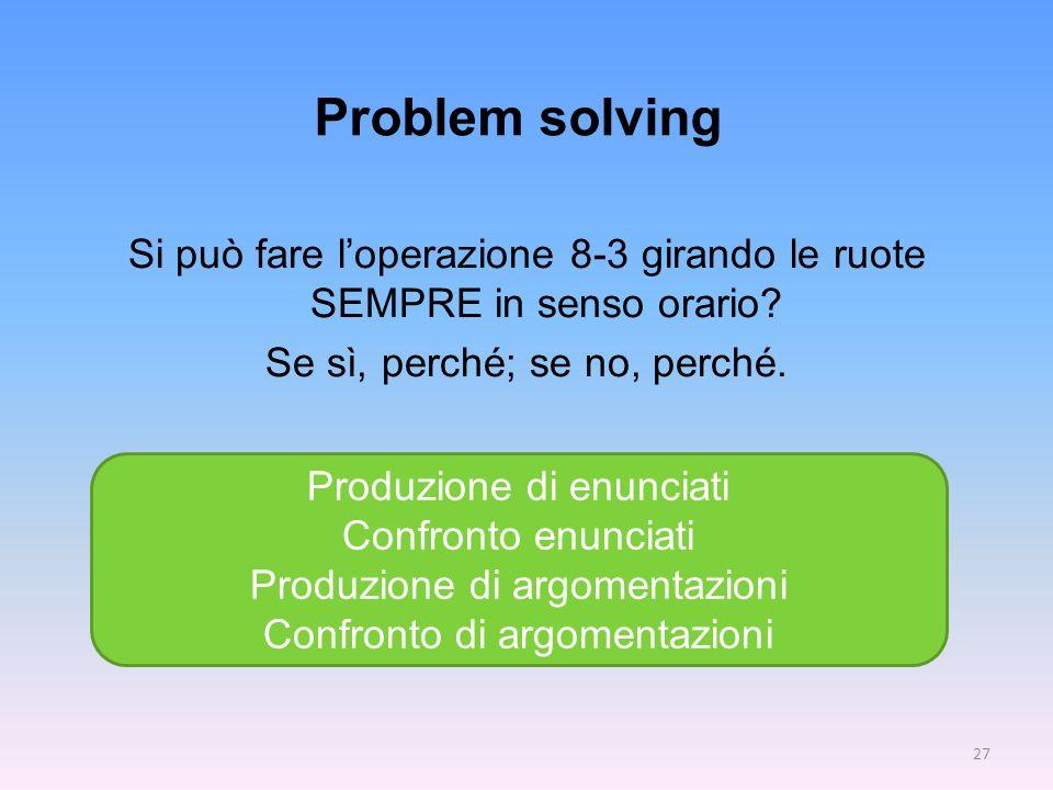 Problem solving Si può fare l'operazione 8-3 girando le ruote SEMPRE in senso orario Se sì, perché; se no, perché.