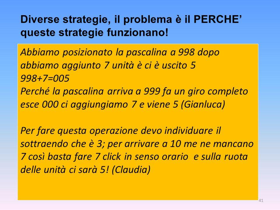 Diverse strategie, il problema è il PERCHE' queste strategie funzionano!
