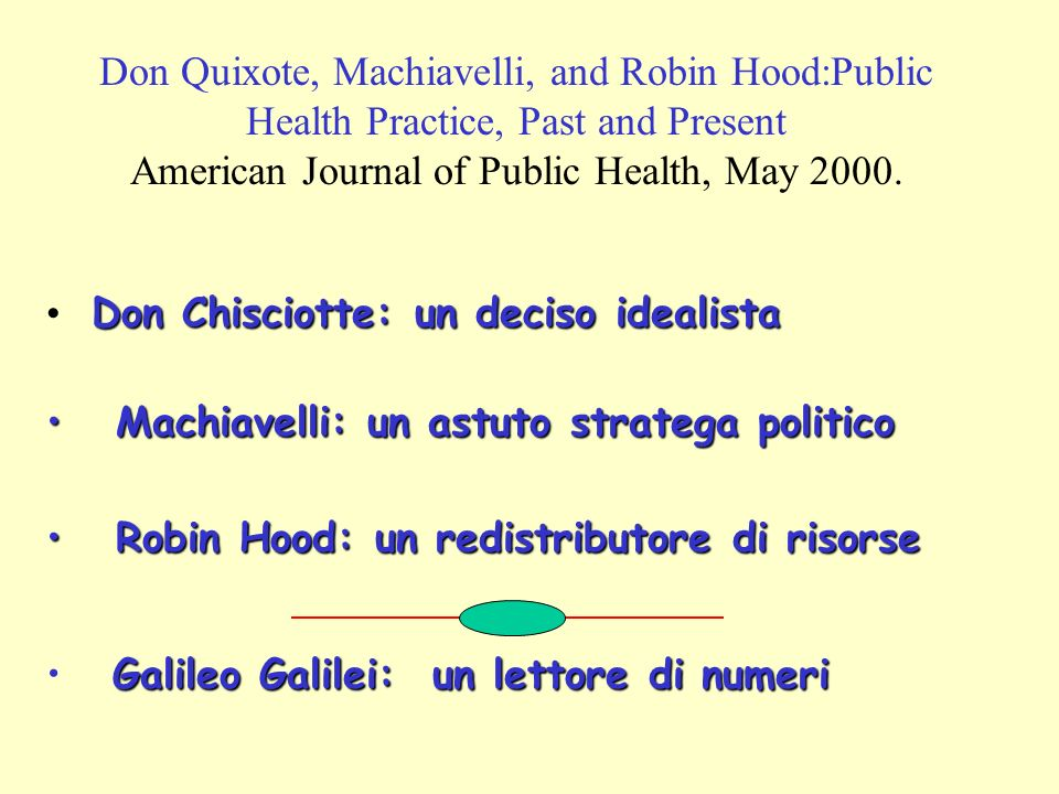 Don Quixote, Machiavelli, and Robin Hood:Public Health Practice, Past and Present American Journal of Public Health, May 2000.