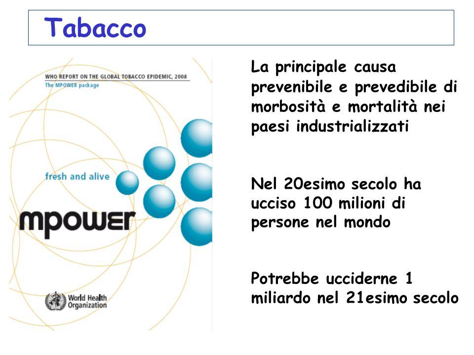 Tabacco La principale causa prevenibile e prevedibile di morbosità e mortalità nei paesi industrializzati.