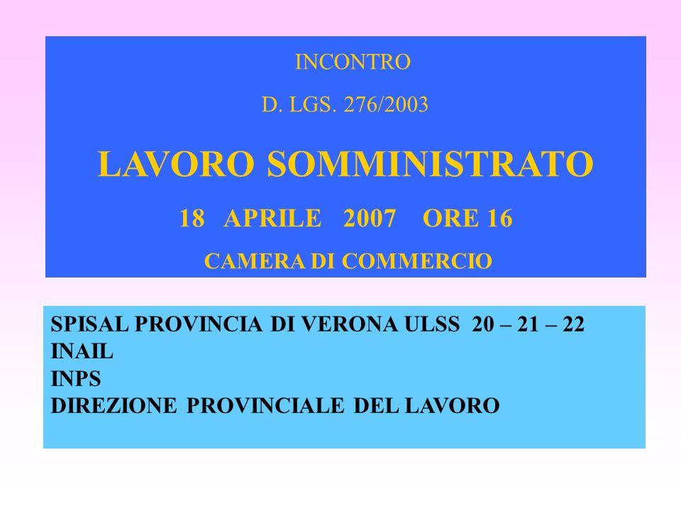 LAVORO SOMMINISTRATO INCONTRO 18 APRILE 2007 ORE 16 D. LGS. 276/2003