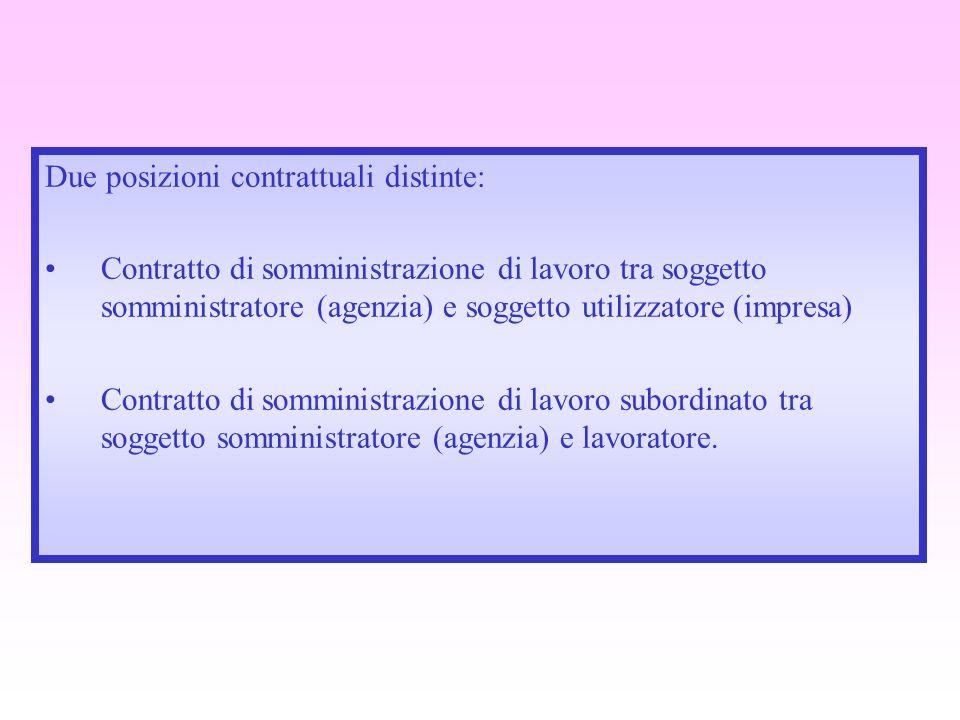 Due posizioni contrattuali distinte: