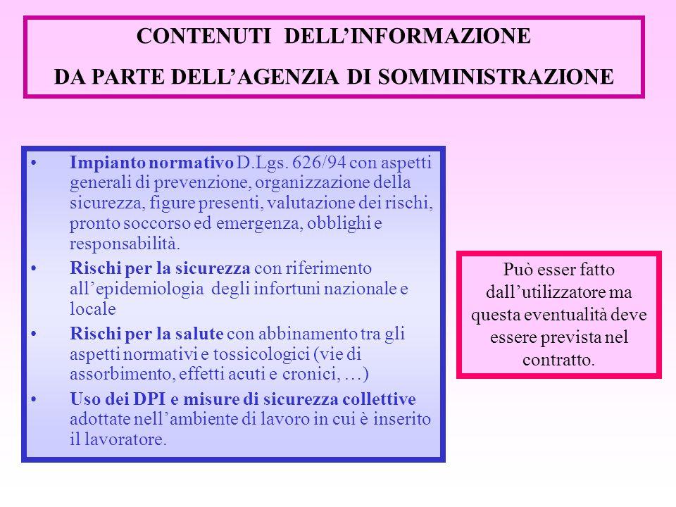 CONTENUTI DELL'INFORMAZIONE DA PARTE DELL'AGENZIA DI SOMMINISTRAZIONE