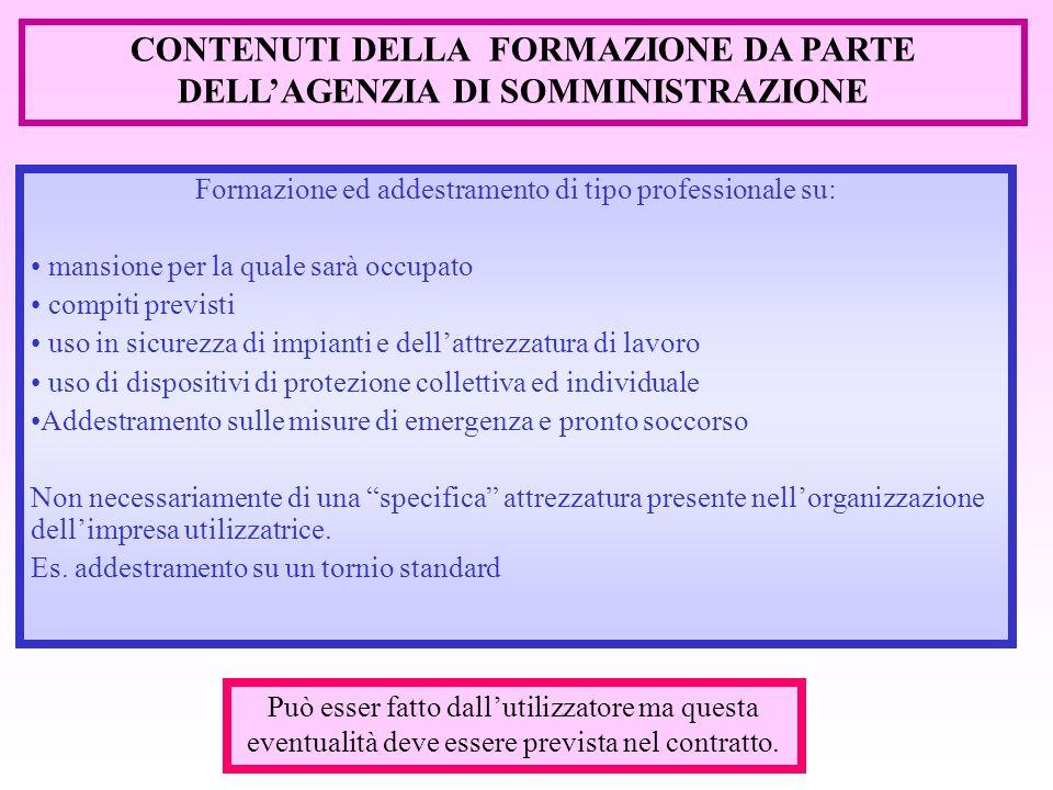 CONTENUTI DELLA FORMAZIONE DA PARTE DELL'AGENZIA DI SOMMINISTRAZIONE