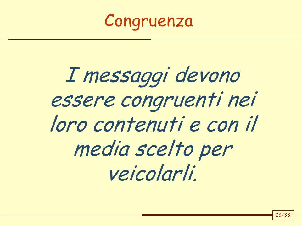 Congruenza I messaggi devono essere congruenti nei loro contenuti e con il media scelto per veicolarli.