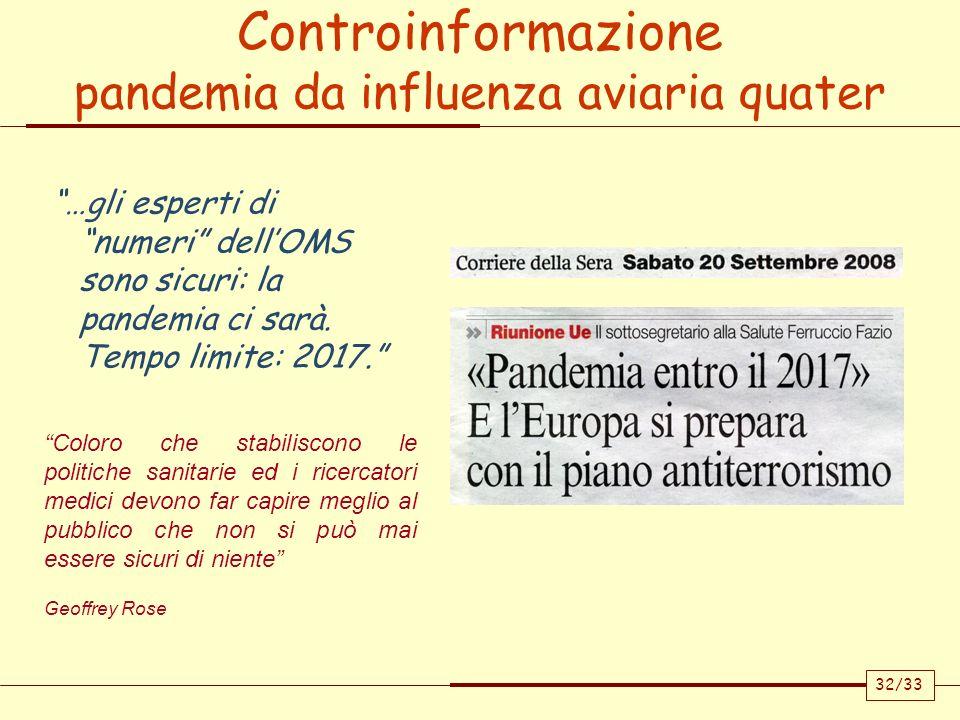Controinformazione pandemia da influenza aviaria quater