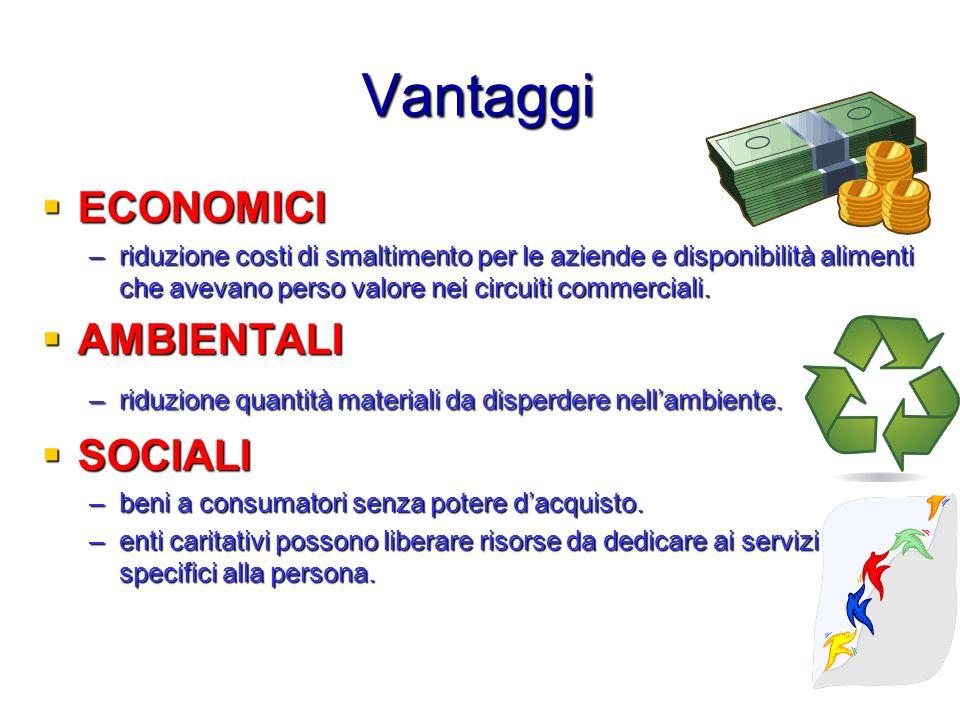 Vantaggi ECONOMICI AMBIENTALI SOCIALI