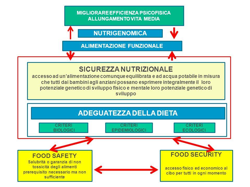 ADEGUATEZZA DELLA DIETA SICUREZZA NUTRIZIONALE