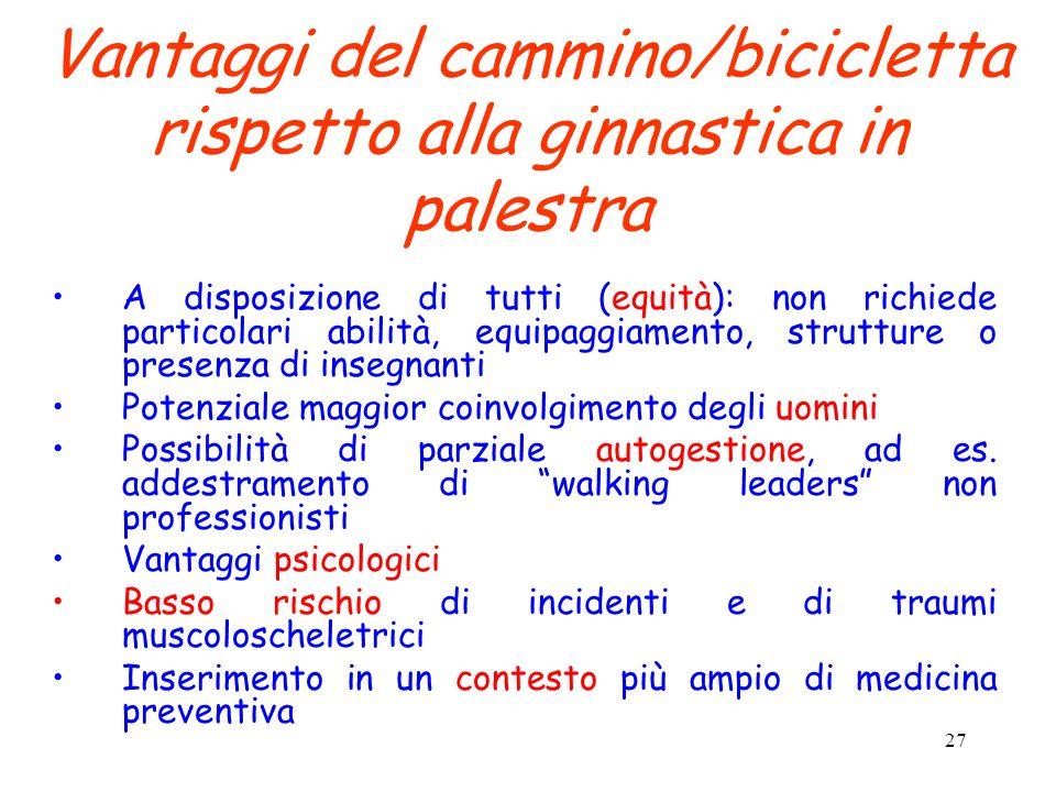 Vantaggi del cammino/bicicletta rispetto alla ginnastica in palestra
