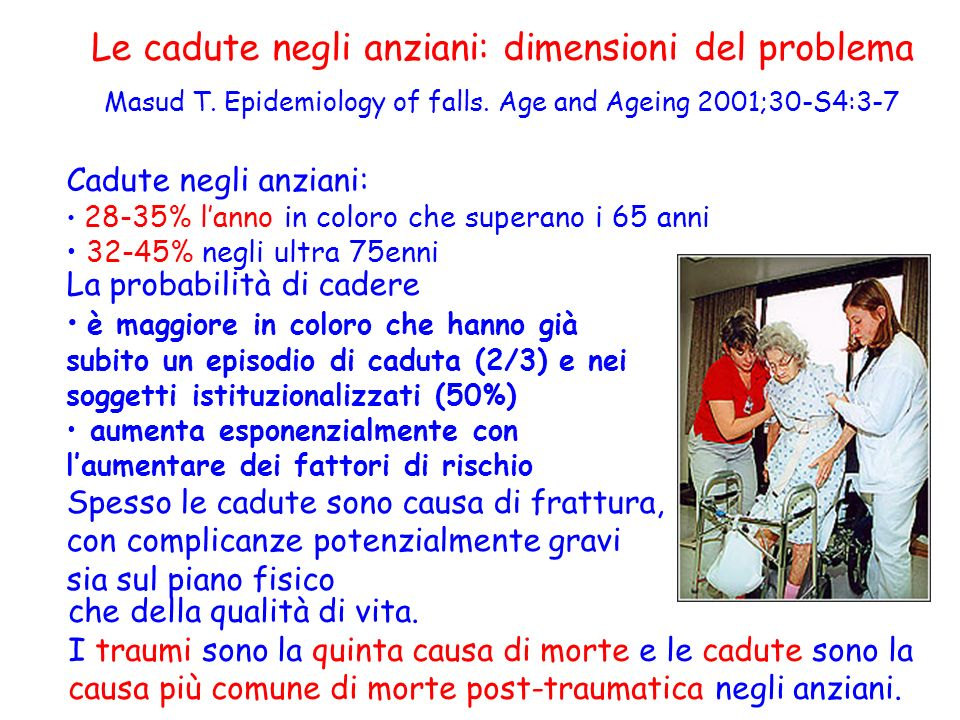 Le cadute negli anziani: dimensioni del problema